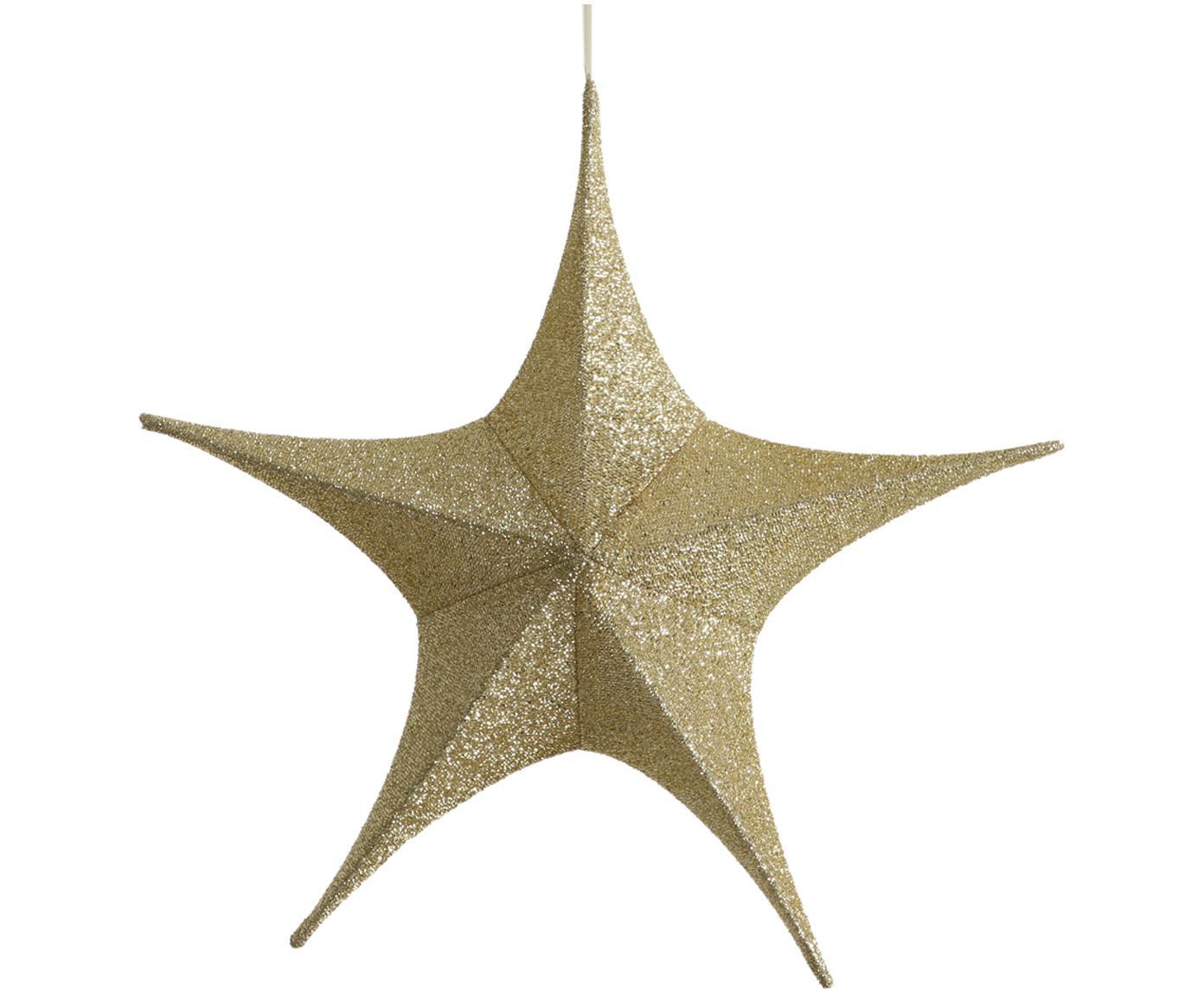 Stella decorativa da appendere Kamilla, Rivestimento: poliestere, Struttura: metallo, Dorato, Larg. 65 x Alt. 60 cm