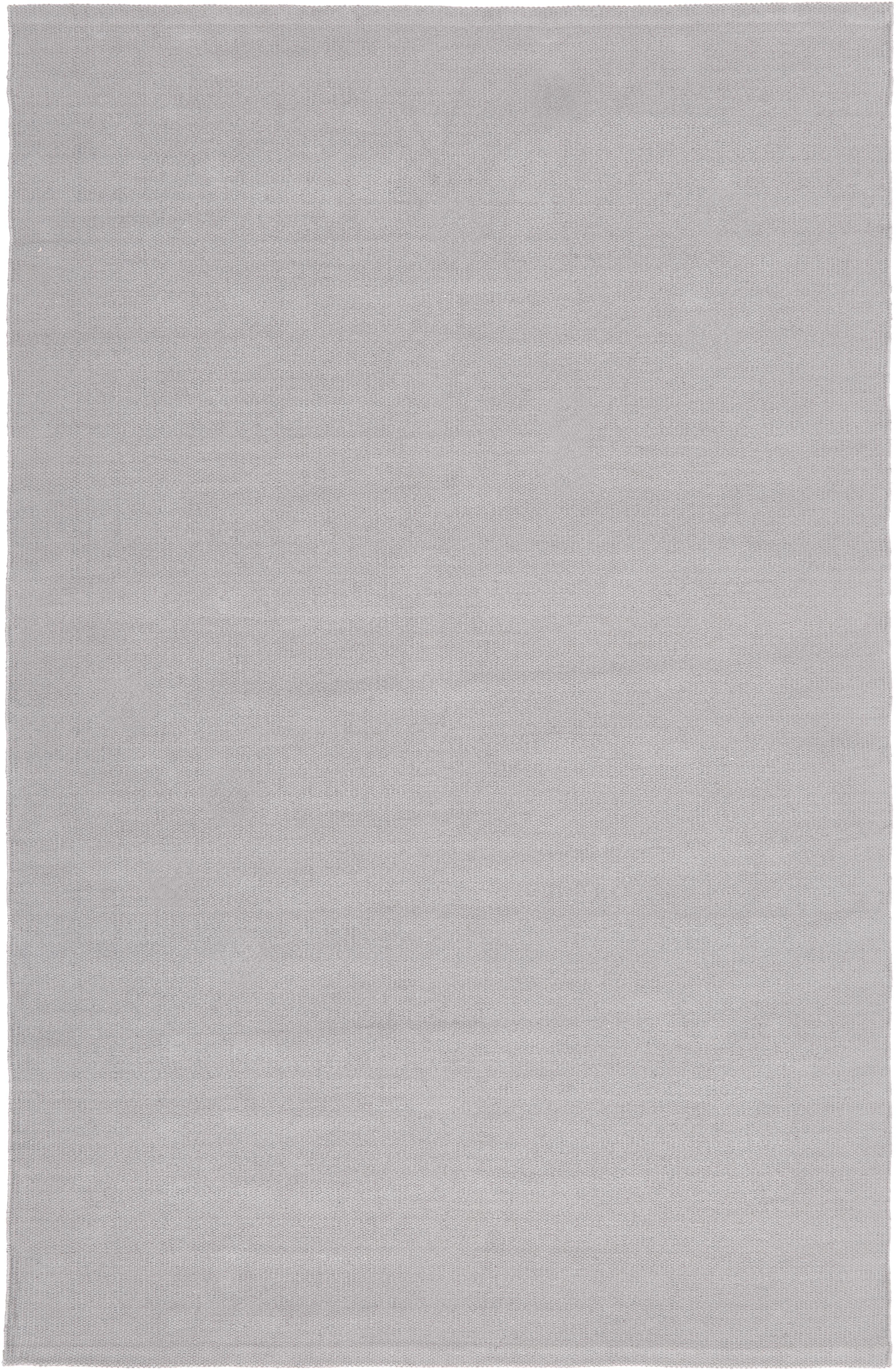 Dünner Baumwollteppich Agneta, handgewebt, 100% Baumwolle, Grau, B 120 x L 180 cm (Größe S)