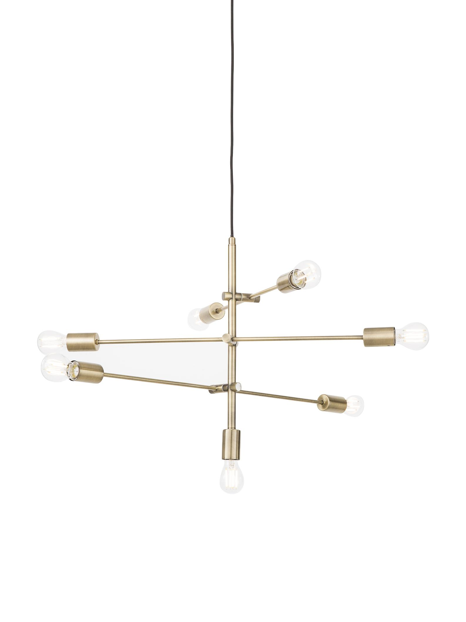 Lámpara de techo Visby, Anclaje: metal, latón, Cable: tela, Latón, An 84 x Al 49 cm