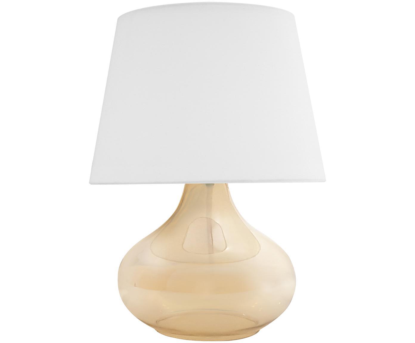 Tafellamp Cameron, Lampenkap: polyester, Lampvoet: glas, Wit, amberkleurig, Ø 18 x H 33 cm