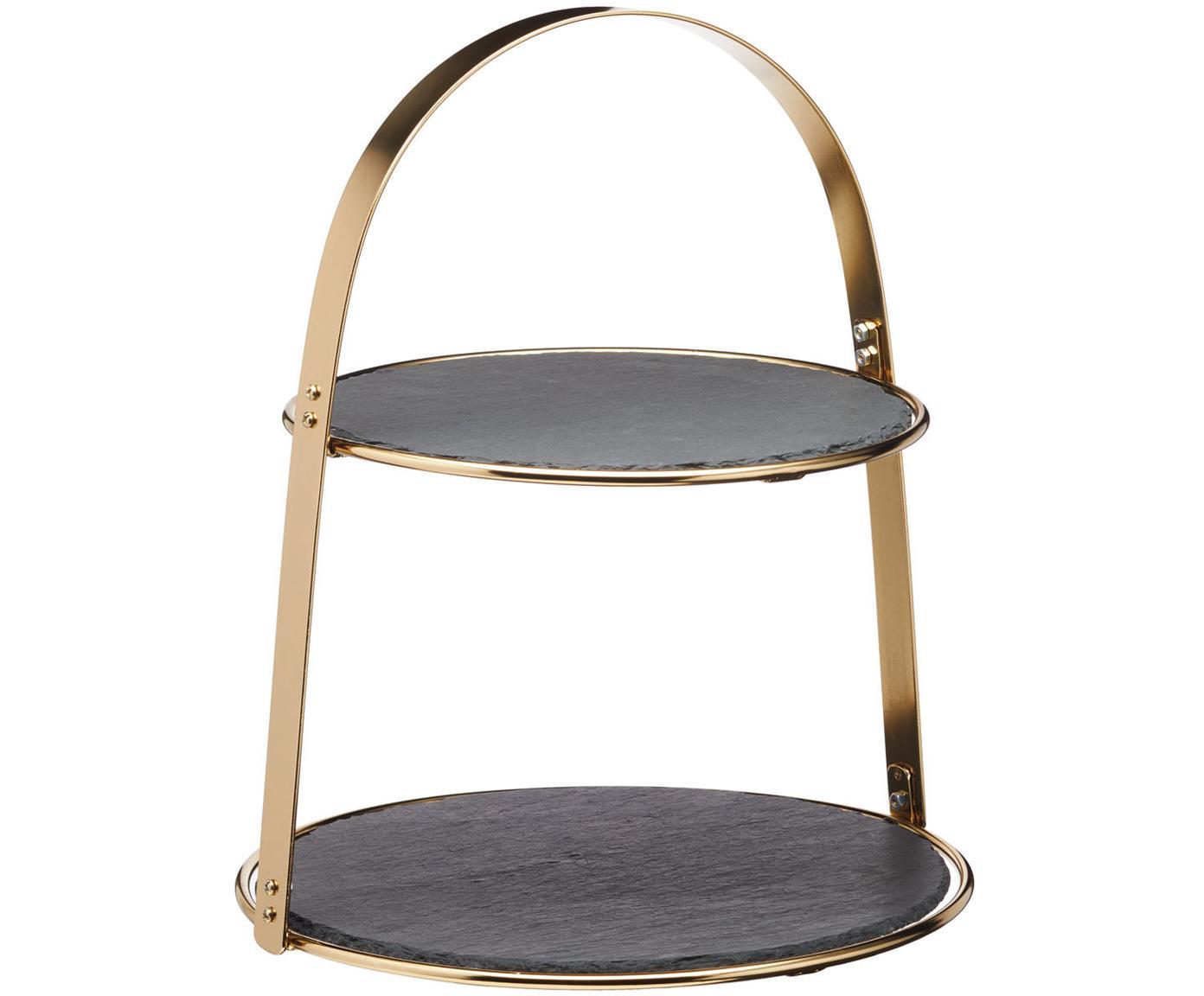 Fuente 2 pisos Artesa, Bandejas: pizarra, Estructura: metal recubierto, Dorado, negro, Ø 30 x Al 35 cm