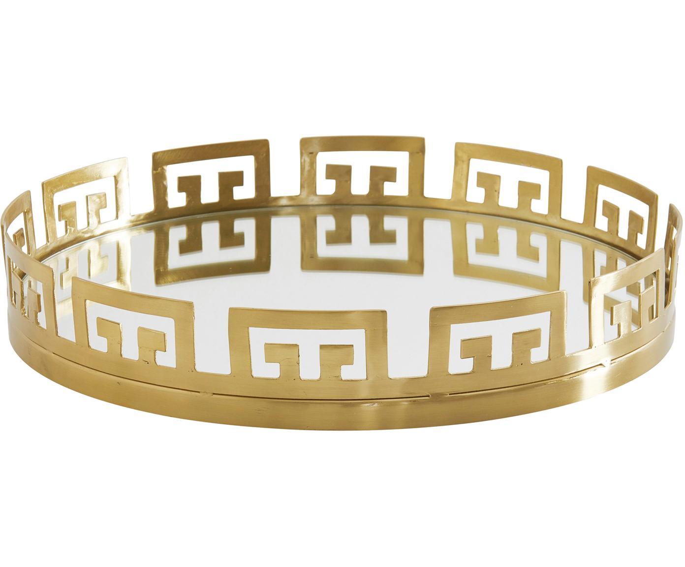 Tablett Mallis, Rahmen: Metall, beschichtet, Messingfarben, Spiegelglas, Ø 42 cm