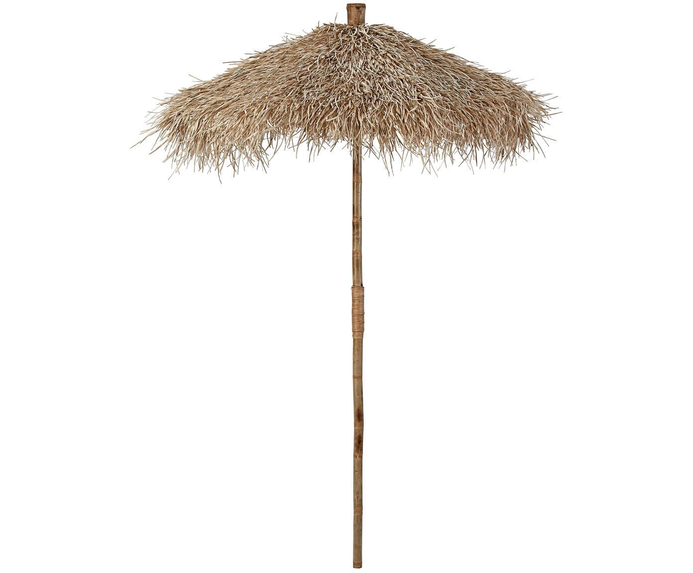 Decoratieve bamboe parasol Mandisa, Bamboe, naturel, Bamboekleurig, Ø 150 x H 240 cm