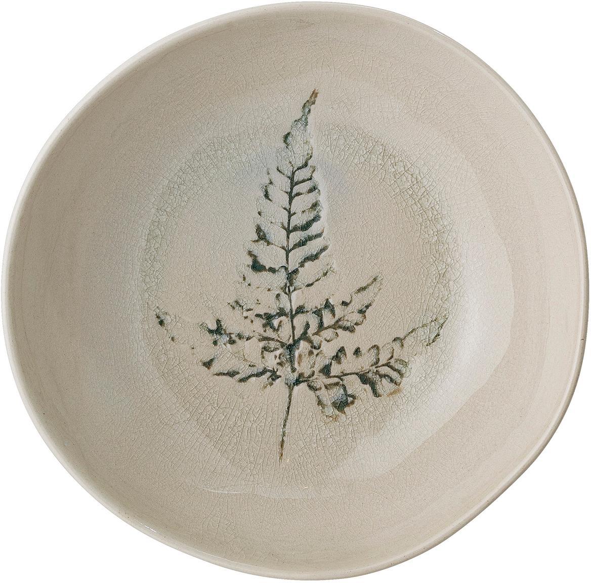 Ciotola fatta a mano con motivo erba Bea, Terracotta, Beige, multicolore, Ø 21 x Alt. 6 cm