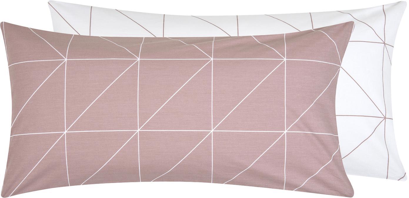Baumwoll-Wendekissenbezüge Marla mit grafischem Muster, 2 Stück, Webart: Renforcé Fadendichte 144 , Mauve, Weiss, 40 x 80 cm