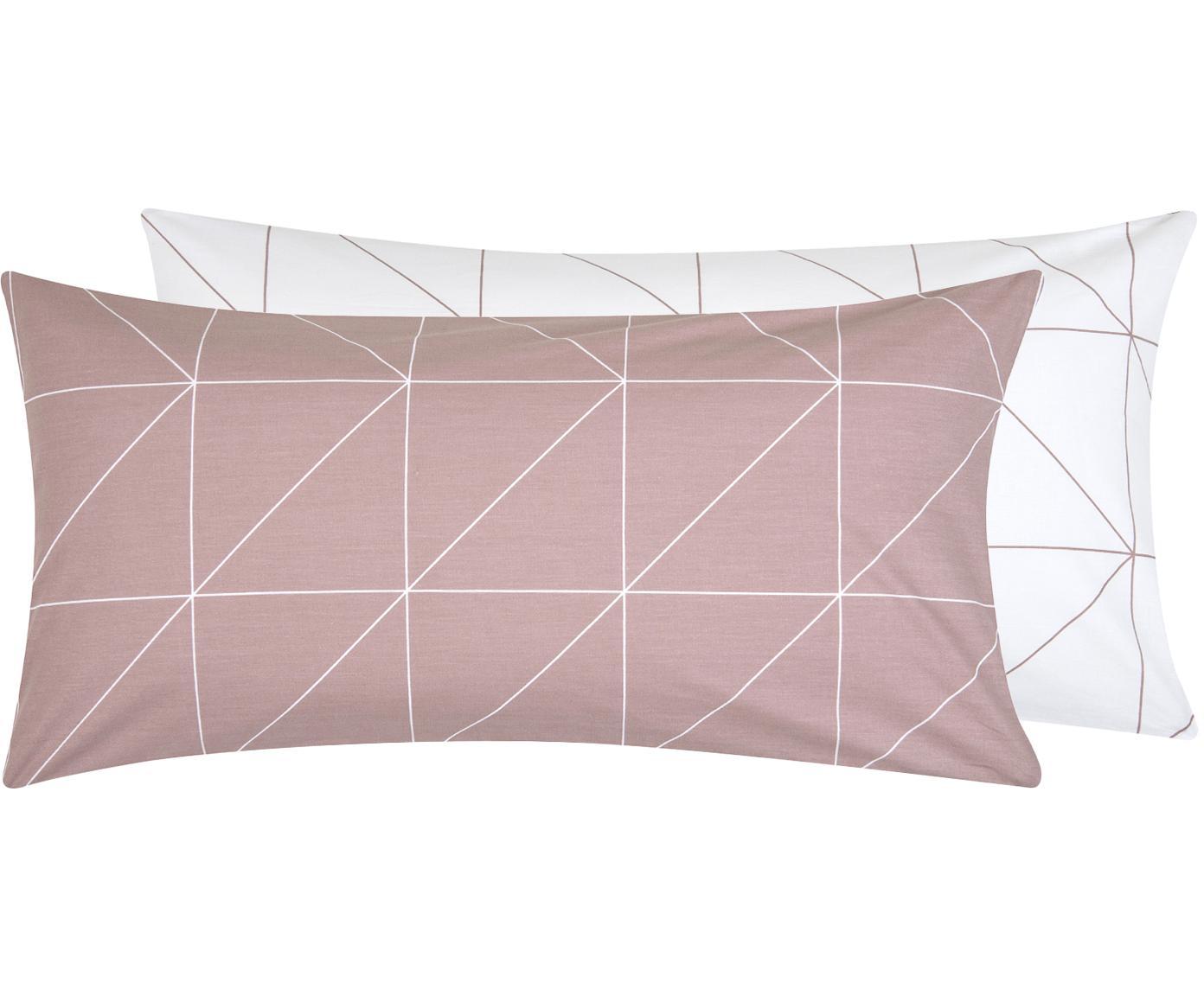 Dwustronna poszewka na poduszkę z bawełny renforcé Marla, 2 szt., Fiołkoworóżowy, biały, S 40 x D 80 cm