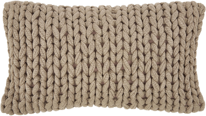 Plaid a maglia grossa beige Adyna, 100% poliacrilico, Beige, Larg. 30 x Lung. 50 cm