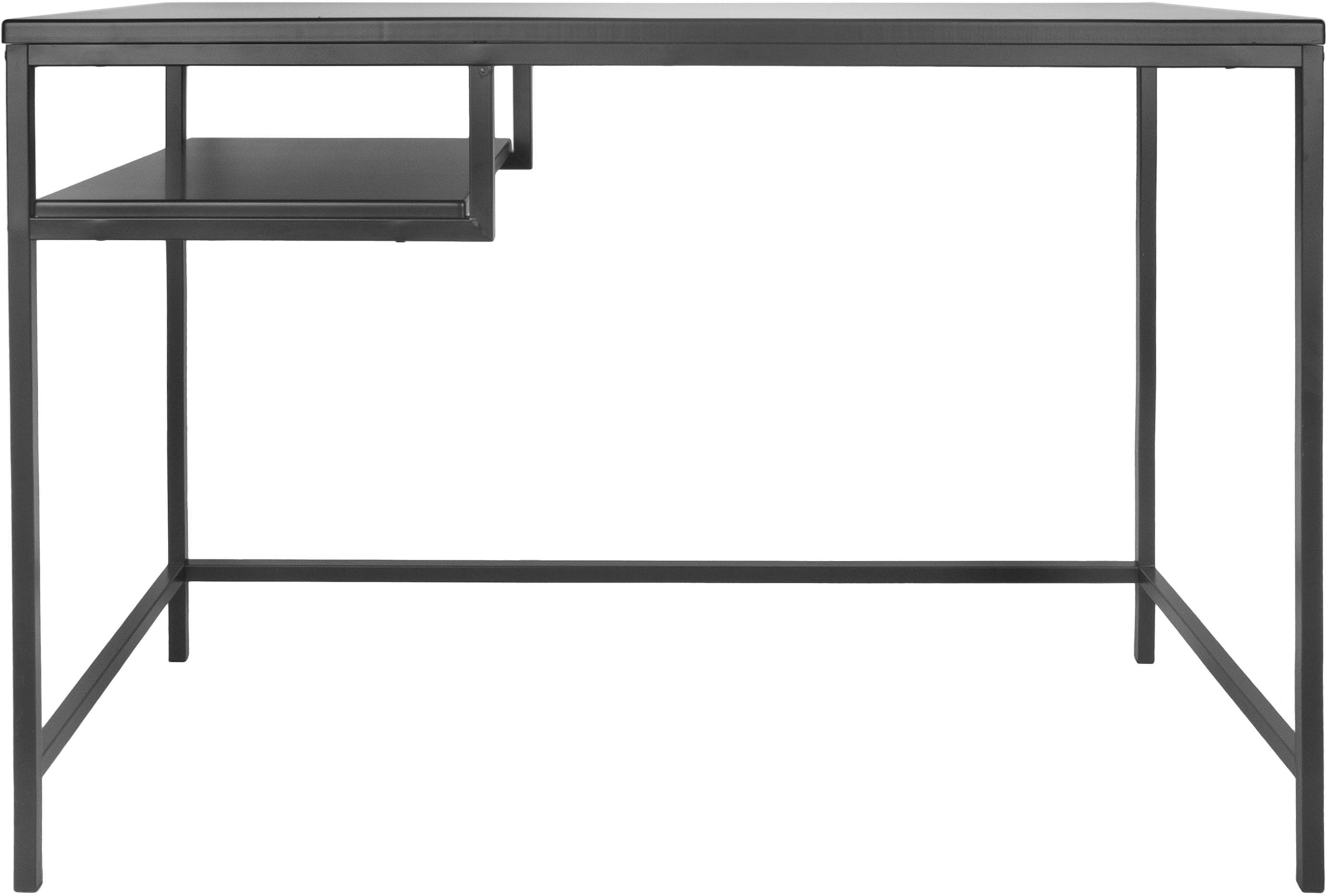 Scrivania in metallo Fushion, Struttura: metallo verniciato a polv, Nero, Larg. 114 x Prof. 76 cm