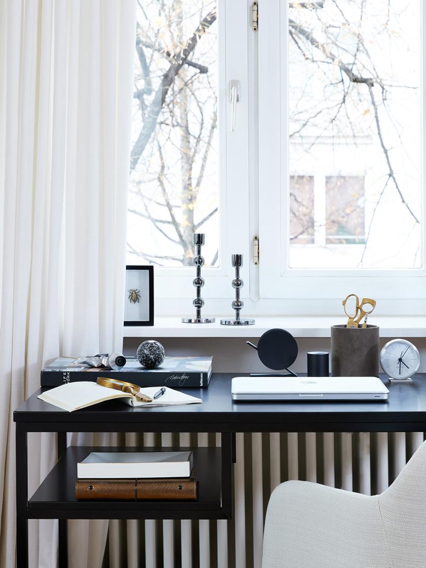 Metall-Schreibtisch Fushion in Schwarz, Gestell: Metall, pulverbeschichtet, Schwarz, B 114 x T 59 cm