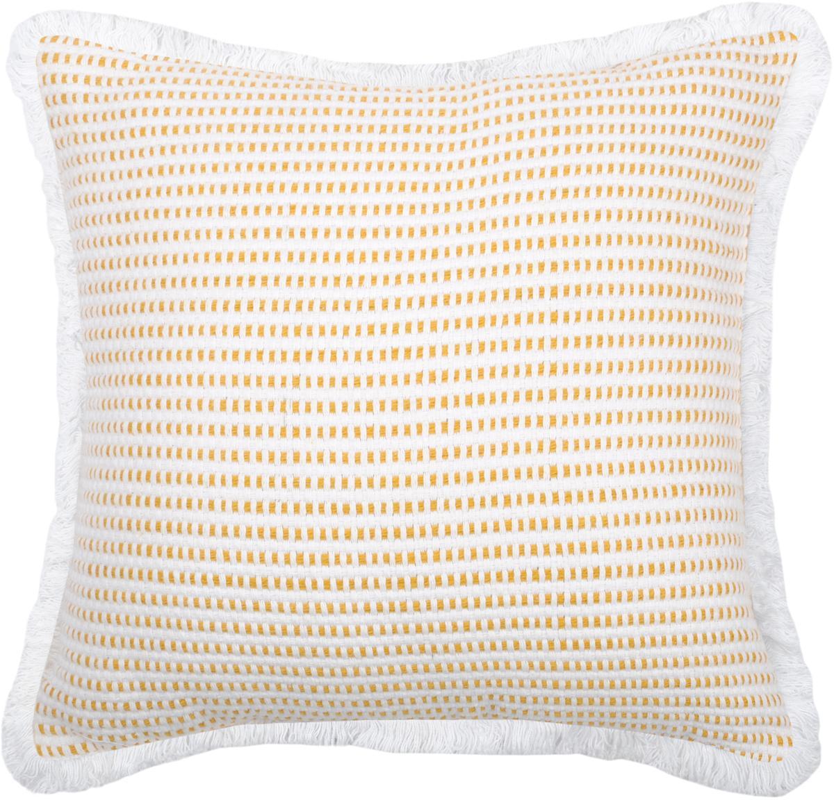 Cuscino con imbottitura giallo/bianco Salamanca, Cotone, Bianco, giallo, Larg. 40 x Lung. 40 cm
