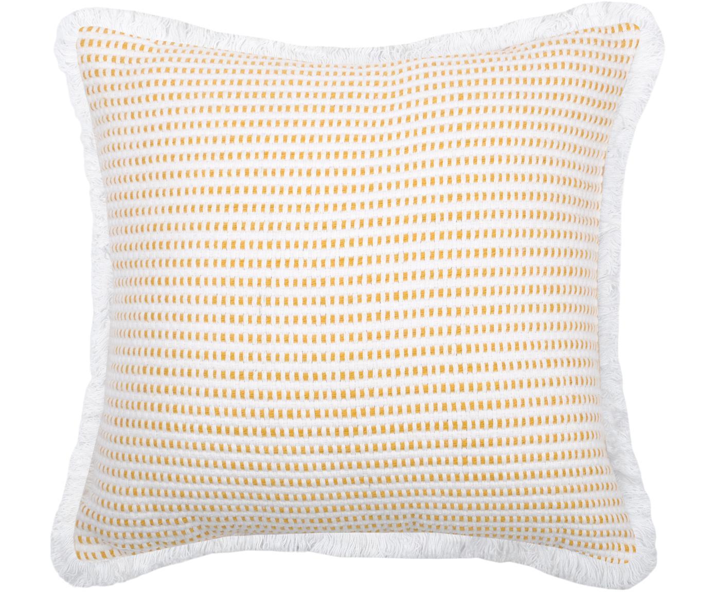Kissen Salamanca in Gelb/Weiss, mit Inlett, 100% Baumwolle, Weiss, Gelb, 40 x 40 cm