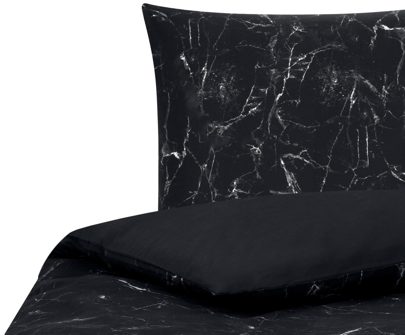 Pościel z perkalu Malin, Czarny, 135 x 200 cm