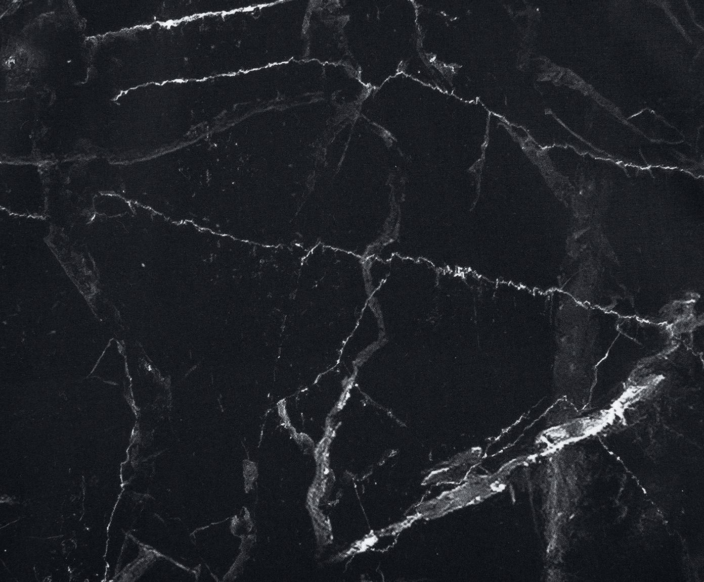 Baumwollperkal-Bettwäsche Malin mit Marmor-Muster, Webart: Perkal Fadendichte 200 TC, Schwarz, 135 x 200 cm + 1 Kissen 80 x 80 cm