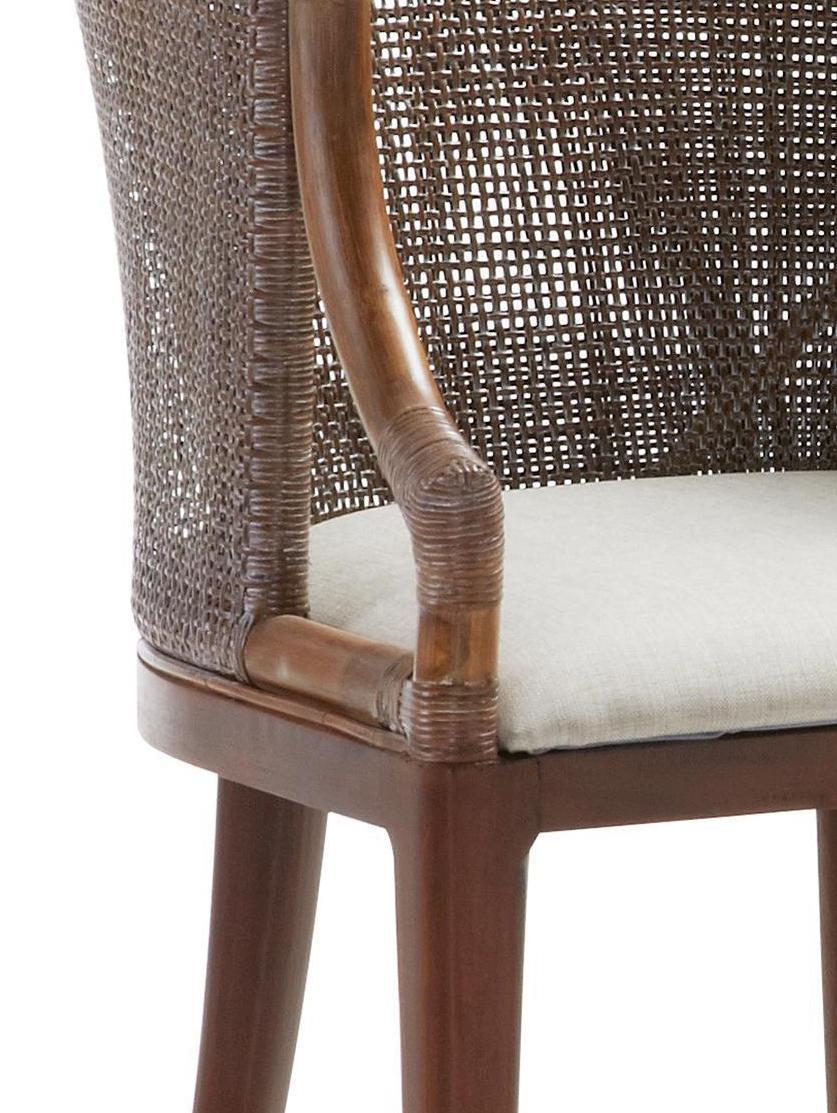 Silla con reposabrazos Luxor, Madera de mindi Ratán Tejido 100%poliéster, Marrón, An 55 x Al 80 cm