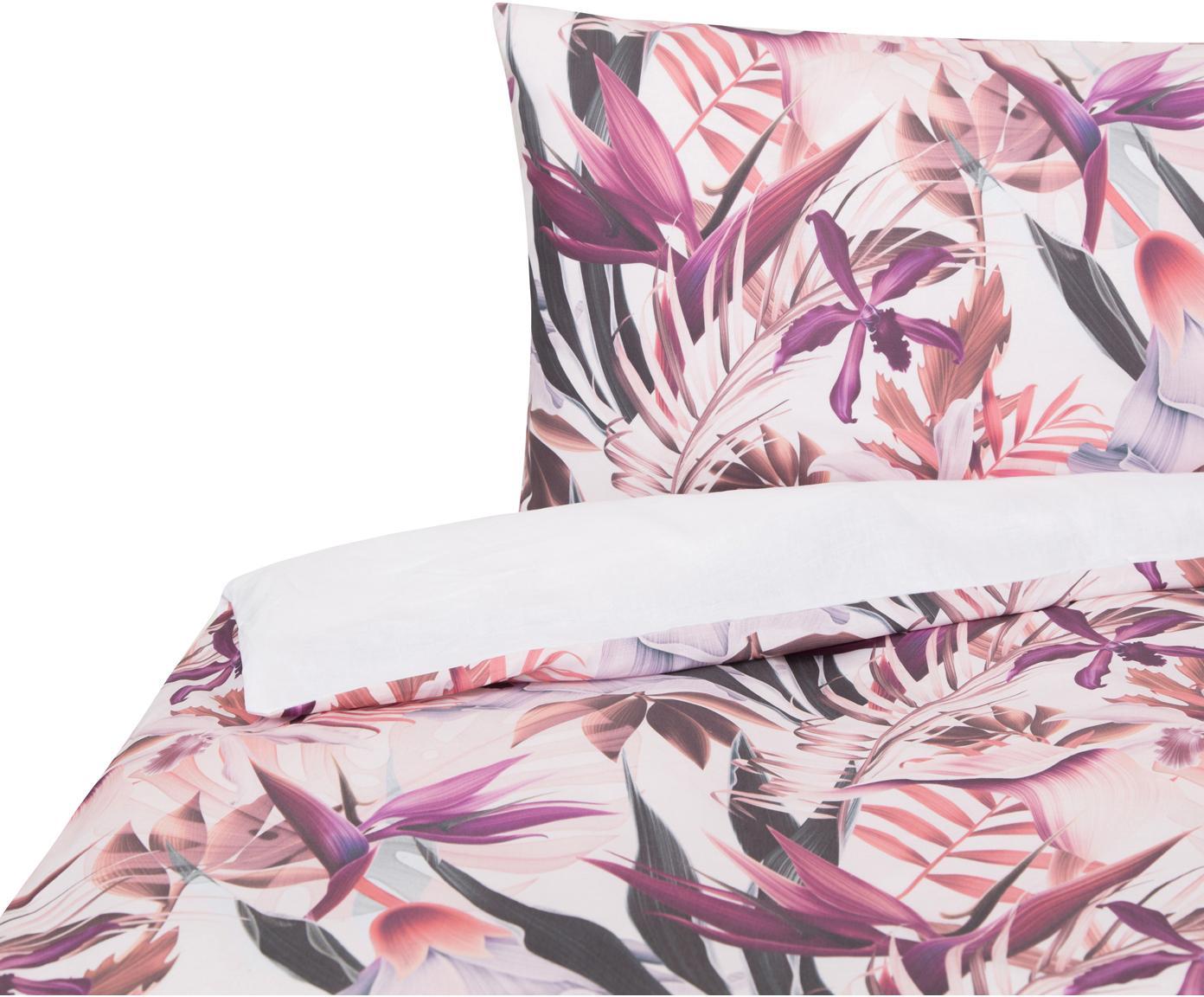 Funda nórdica doble cara Asia Pasion, Algodón, Tonos rosas y lilas, blanco, Cama 90 cm (160 x 220 cm)