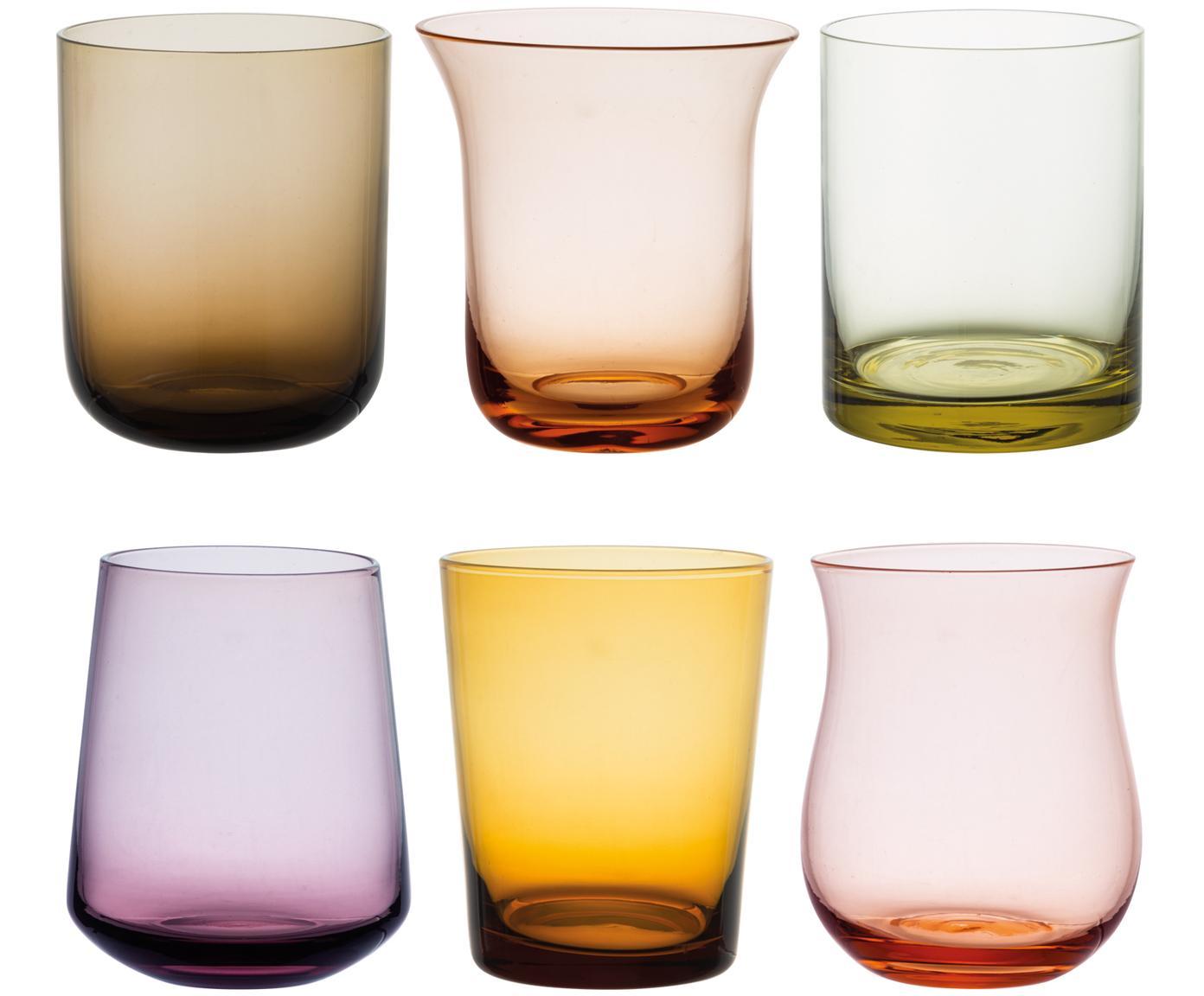 Vasos de vidrio soplado Desigual, 6uds., Vidrio soplado, Multicolor, Ø 8 x Al 10 cm