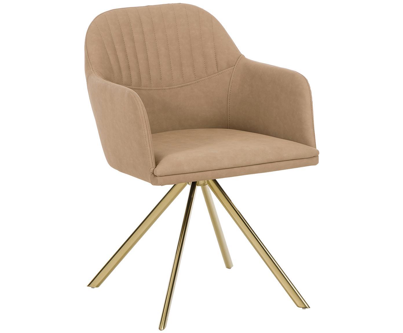 Krzesło obrotowe ze sztucznej skóry Lola, Tapicerka: sztuczna skóra (poliureta, Nogi: metal galwanizowany, Jasny brązowy, S 52 x G 57 cm