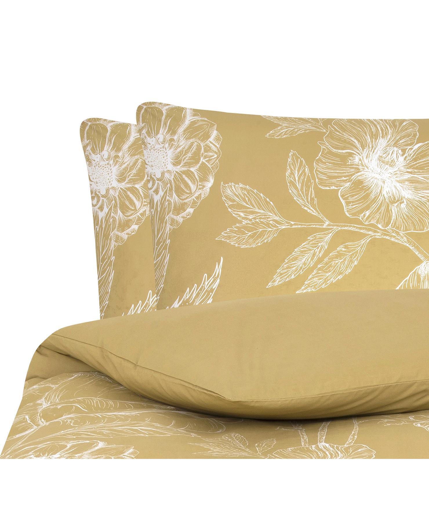 Baumwollperkal-Bettwäsche Keno mit Blumenprint, Webart: Perkal Fadendichte 180 TC, Senfgelb, Weiß, 200 x 200 cm + 2 Kissen 80 x 80 cm