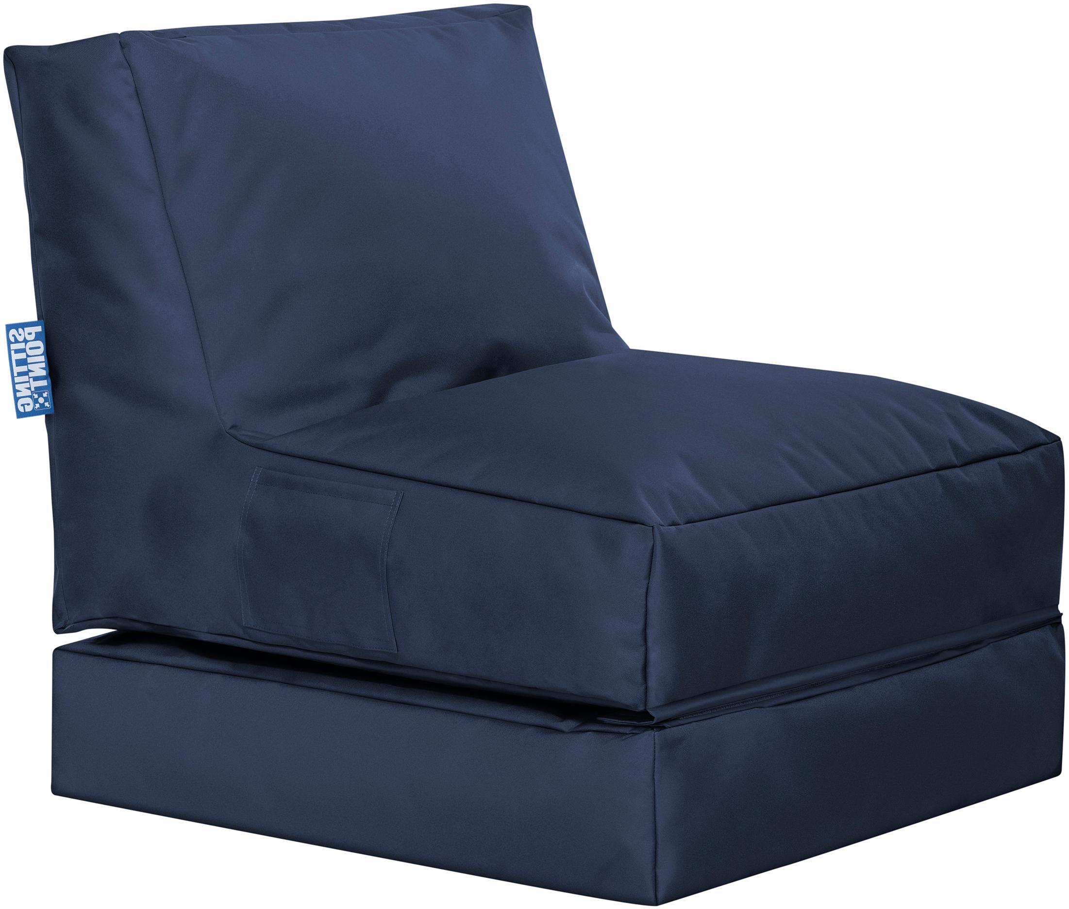 Garten-Loungesessel Pop Up mit Liegefunktion, Bezug: 100% Polyester Innenseite, Jeansblau, B 70 x T 90 cm