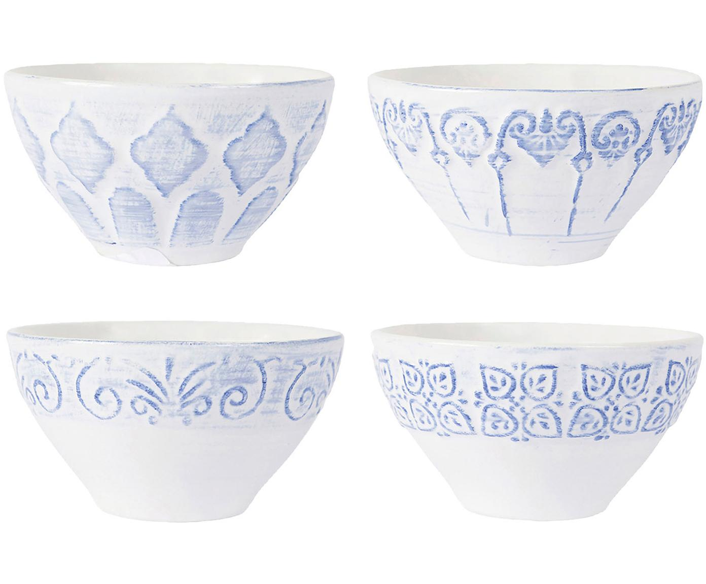 Kommen Tartine, 4 stuks, Keramiek, Blauw, wit, Ø 14 x H 10 cm