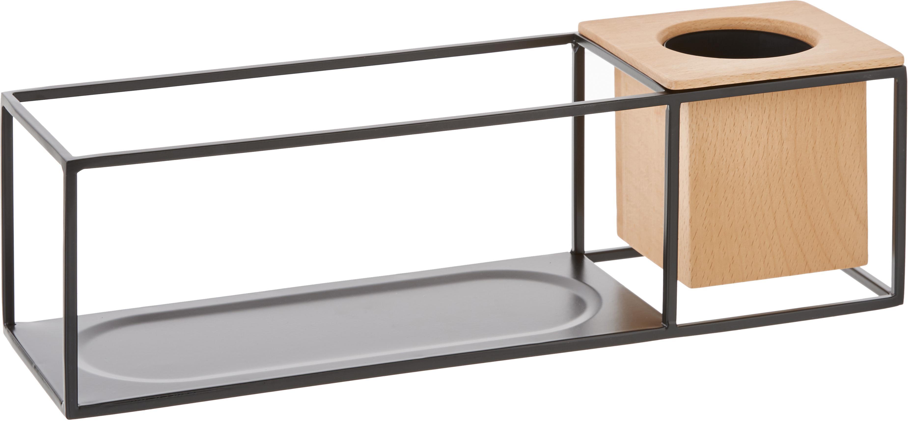 Mensola con contenitore Cubist, Scaffale: metallo, rivestito, Contenitore: legno di frassino con ins, Nero, marrone chiaro, Larg. 38 x Alt. 12 cm