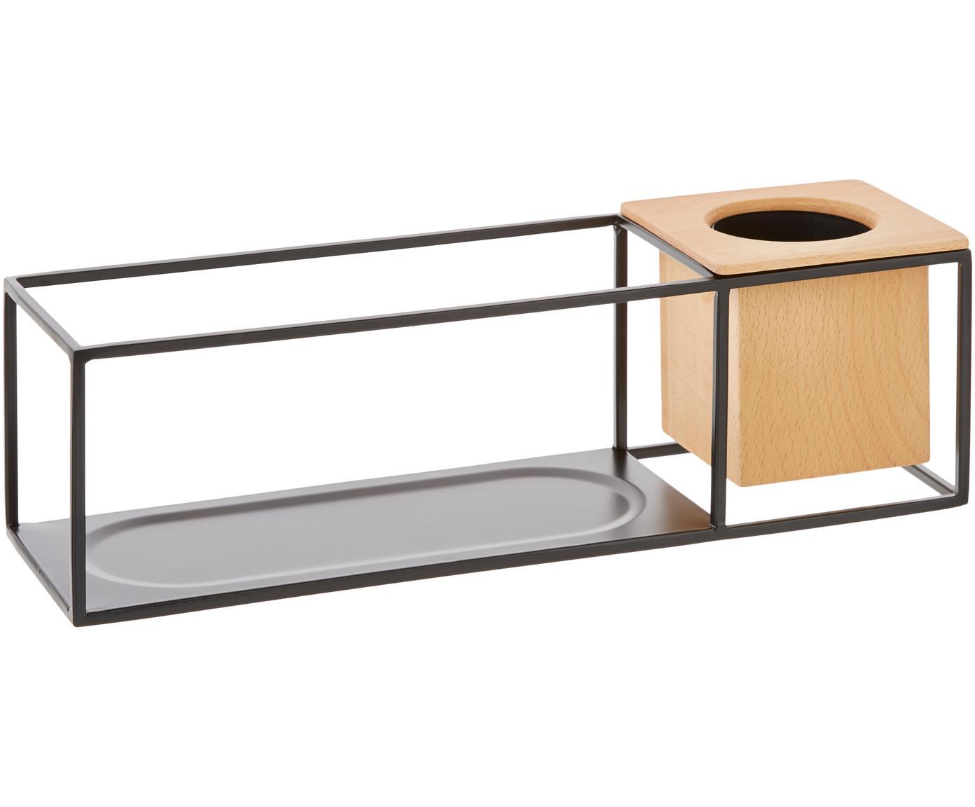 Kleine wandplank Cubist met houder, Frame: gecoat metaal, Houder: essenhout met kunststof i, Zwart, lichtbruin, 38 x 12 cm
