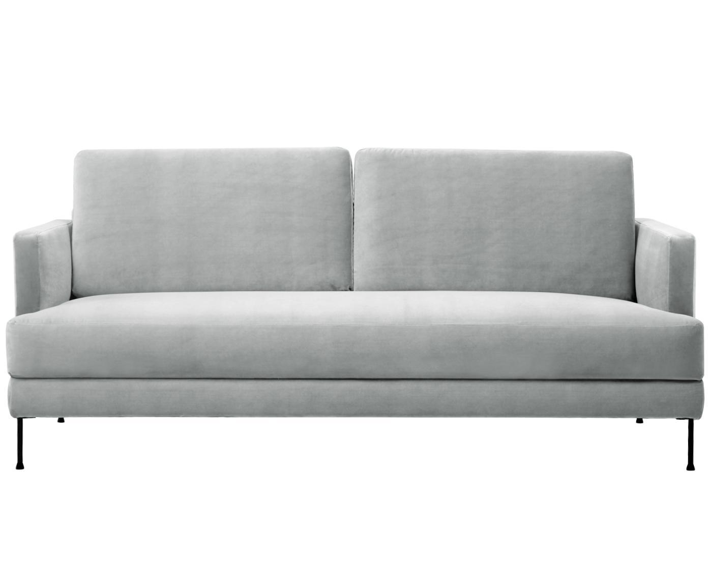 Fluwelen bank Fluente (3-zits), Bekleding: fluweel (hoogwaardig poly, Frame: massief grenenhout, Poten: gelakt metaal, Lichtgrijs, B 197 x D 83 cm