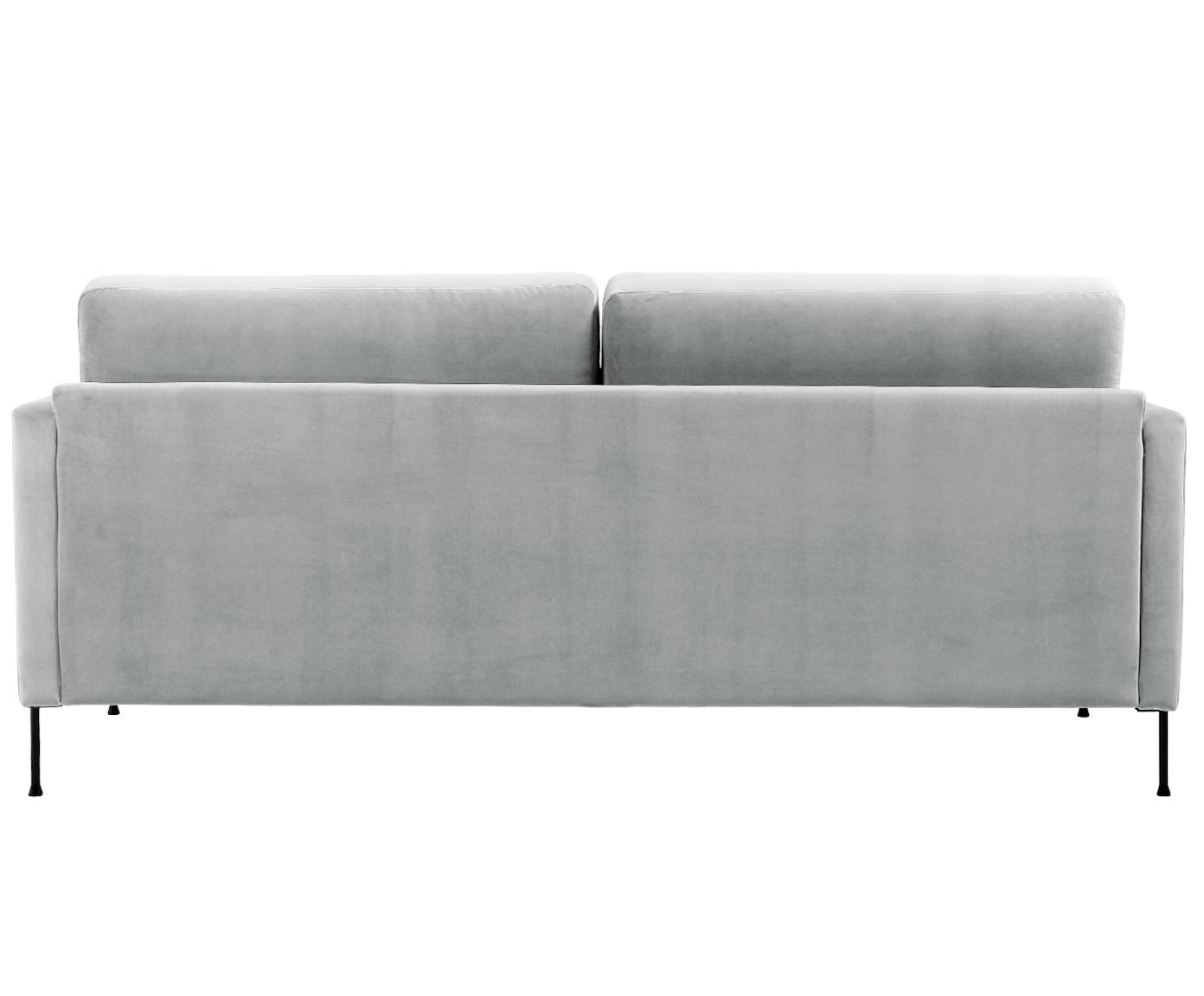 Samt-Sofa Fluente (3-Sitzer), Bezug: Samt (Hochwertiger Polyes, Gestell: Massives Kiefernholz, Füße: Metall, lackiert, Samt Hellgrau, B 197 x T 83 cm