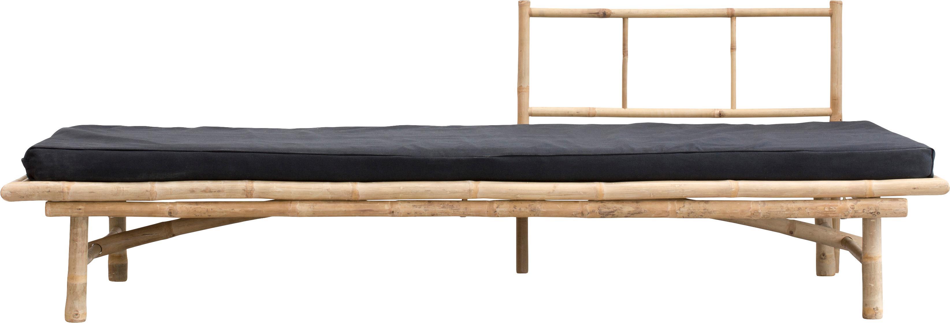 Diván de bambú Mandisa, Estructura: bambú, natural, Tapizado: poliéster, Bambú, negro, An 215 x F 100 cm