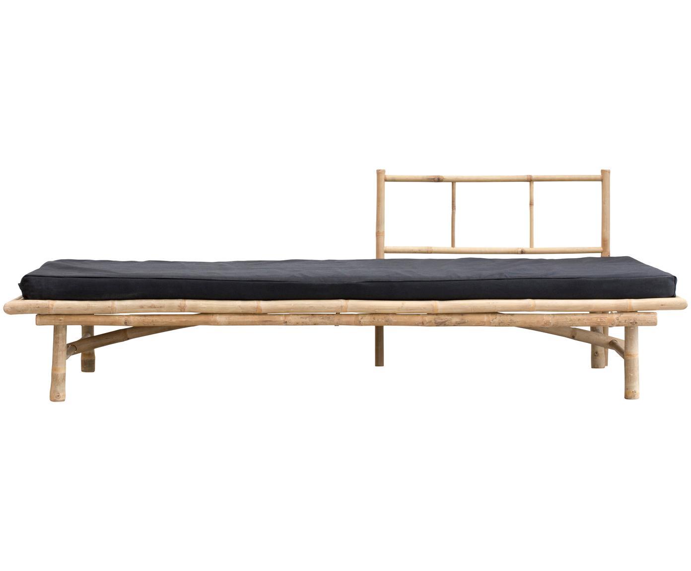 Chaise-longue da esterno in bambù Mandisa, Legno di bambù, nero, Larg. 215 x Prof. 100 cm