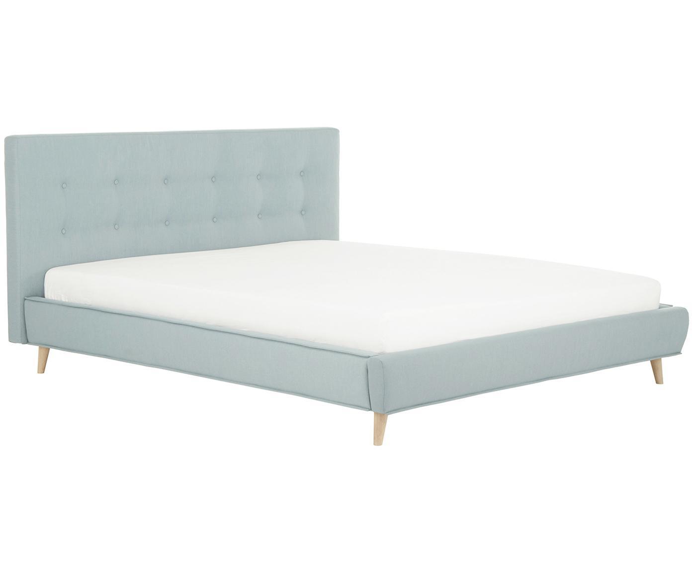 Gestoffeerd bed Moon, Frame: massief grenenhout, Poten: massief eikenhout, Bekleding: polyester (structuurmater, Lichtblauw, 160 x 200 cm