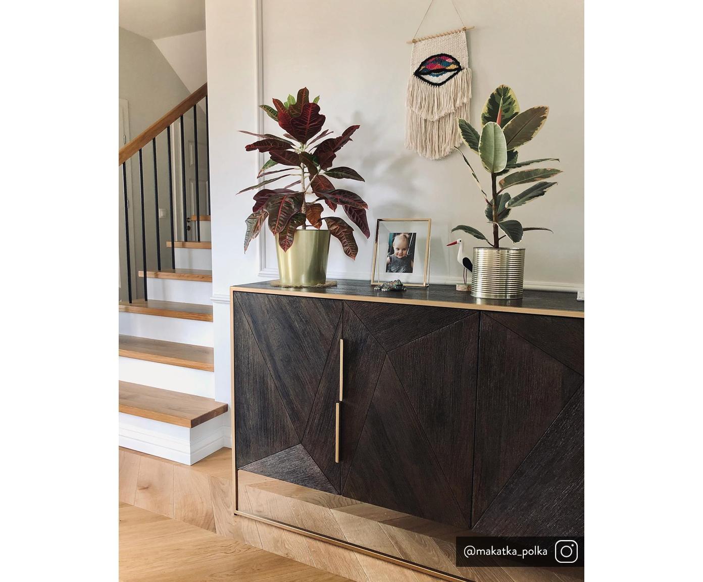 Massief houten dressoir Harry, Frame: gelakt massief mangohout, Handvatten: gepoedercoat metaal, Frame: gepoedercoat metaal, Mangohoutkleurig, goudkleurig, 175 x 85 cm