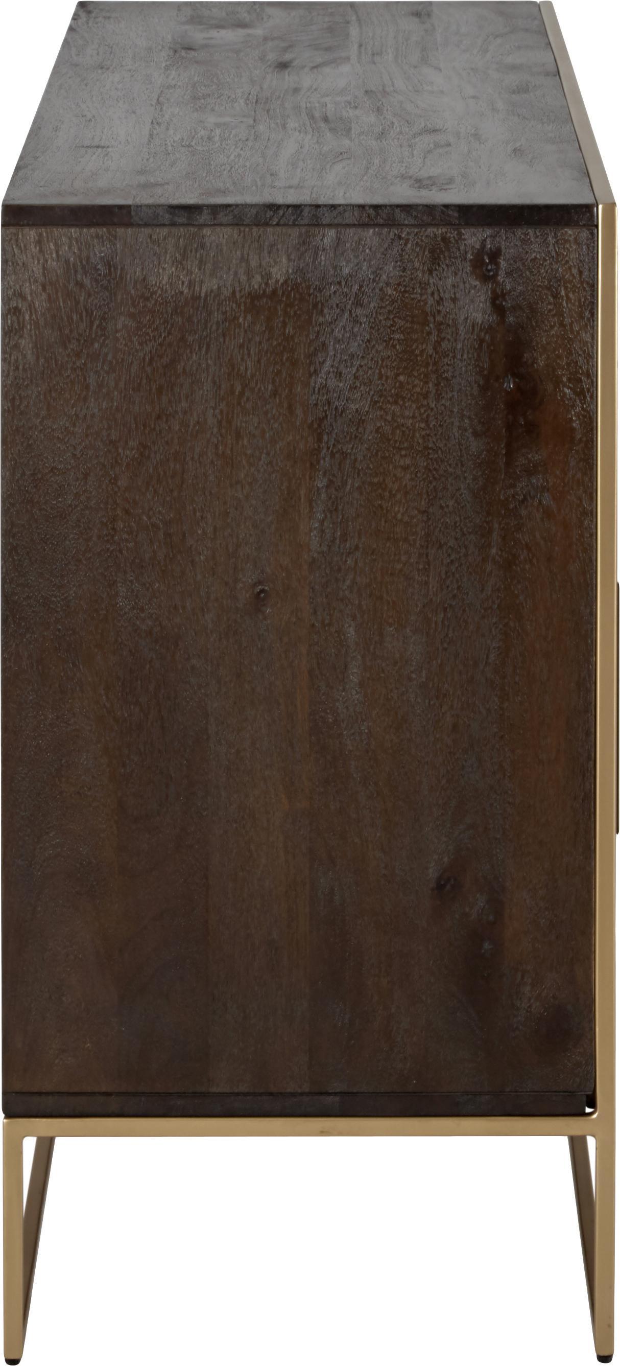 Sideboard Harry aus Massivholz, Korpus: Massives Mangoholz, lacki, Griffe: Metall, pulverbeschichtet, Gestell: Metall, pulverbeschichtet, Mangoholz, Goldfarben, 175 x 85 cm