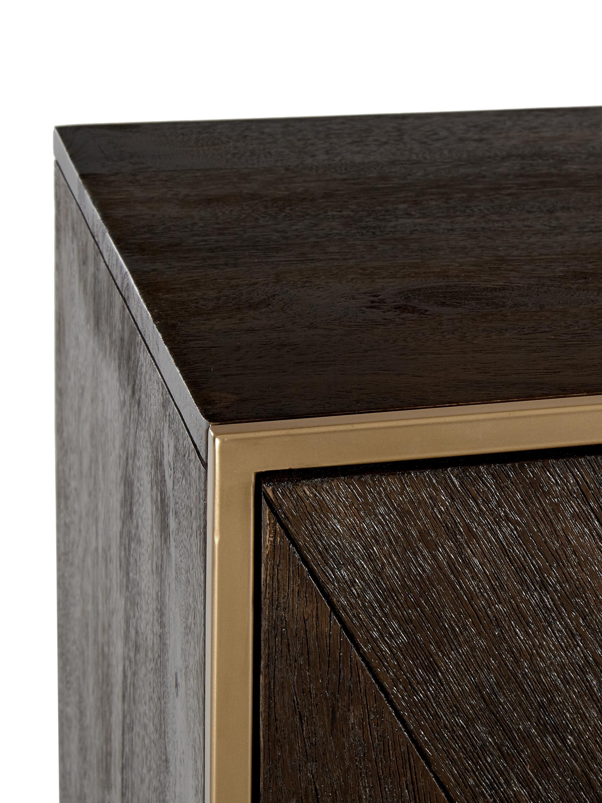 Skříňka zmasivního dřeva Harry, Mangové dřevo, zlatá