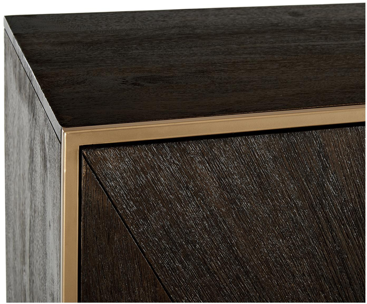 Komoda z litego drewna Harry, Korpus: lite drewno mangowe, laki, Stelaż: metal malowany proszkowo, Drewno mangowe, odcienie złotego, S 175 x W 85 cm