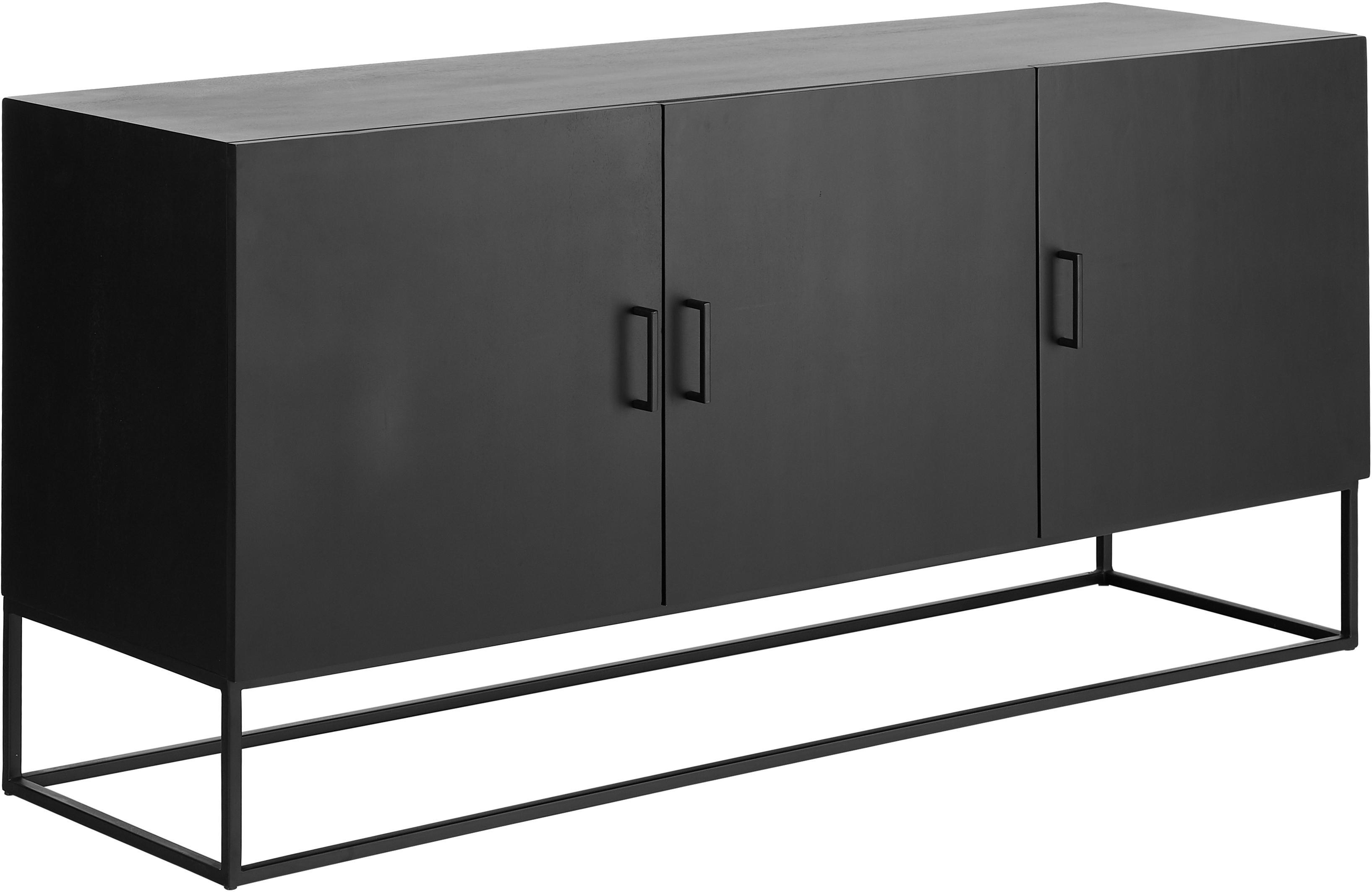 Zwart dressoir Lyle met deuren, Frame: gelakt massief mangohout, Zwart gelakt mangohout, 150 x 72 cm