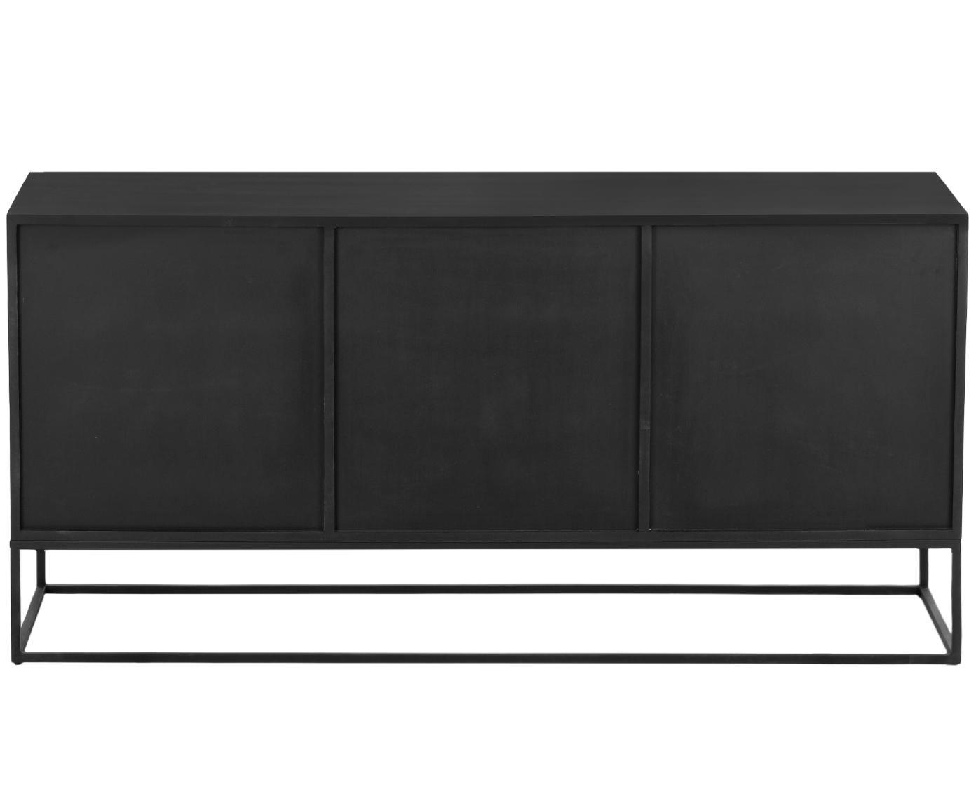 Komoda z drzwiczkami Lyle, Korpus: lite drewno mangowe, laki, Drewno mangowe, czarny lakierowany, S 150 x D 72 cm