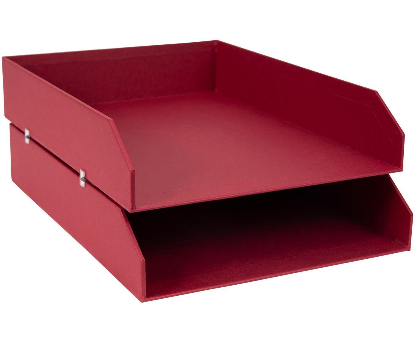 Bandejas para documentos Hakan, 2uds., Cartón laminado, Rojo oscuro, An 23 x F 31 cm