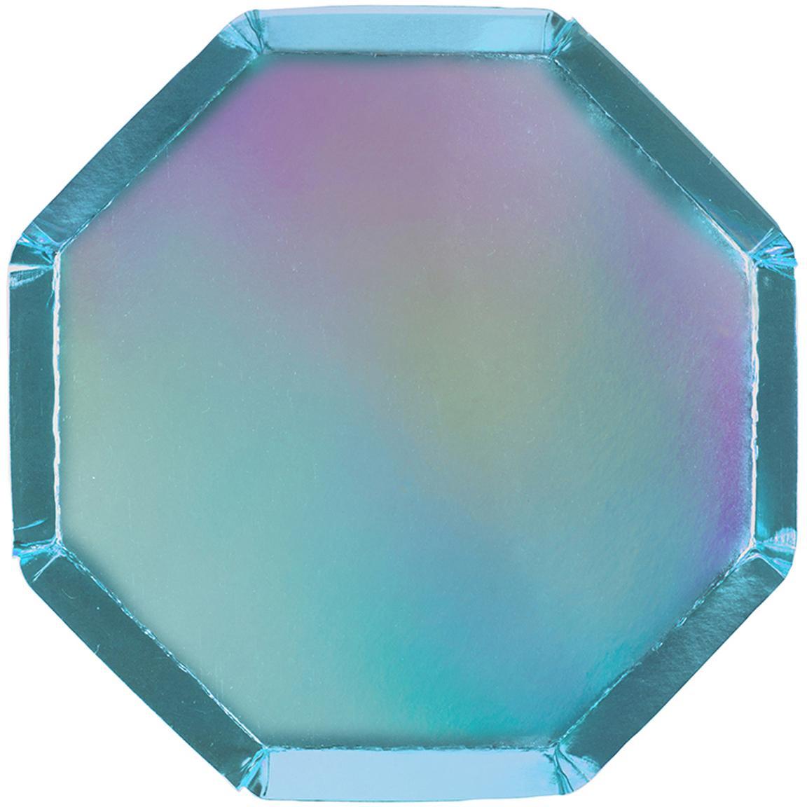 Papier-Teller Metallic, 8 Stück, Papier, foliert, Blau, Ø 20 x H 1 cm