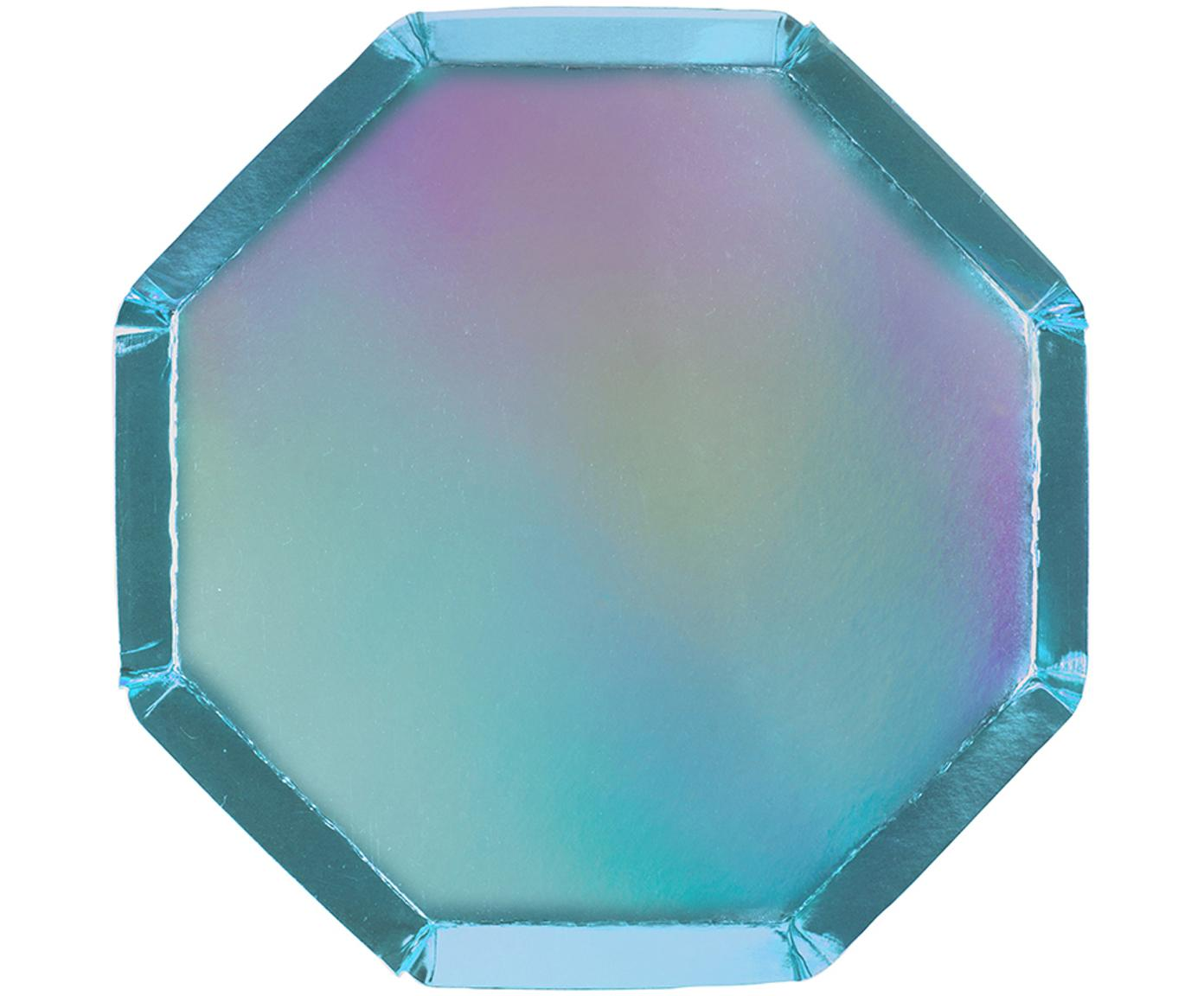 Papieren borden Metallic, 8 stuks, Gecoat papier, Blauw, Ø 20 x H 1 cm