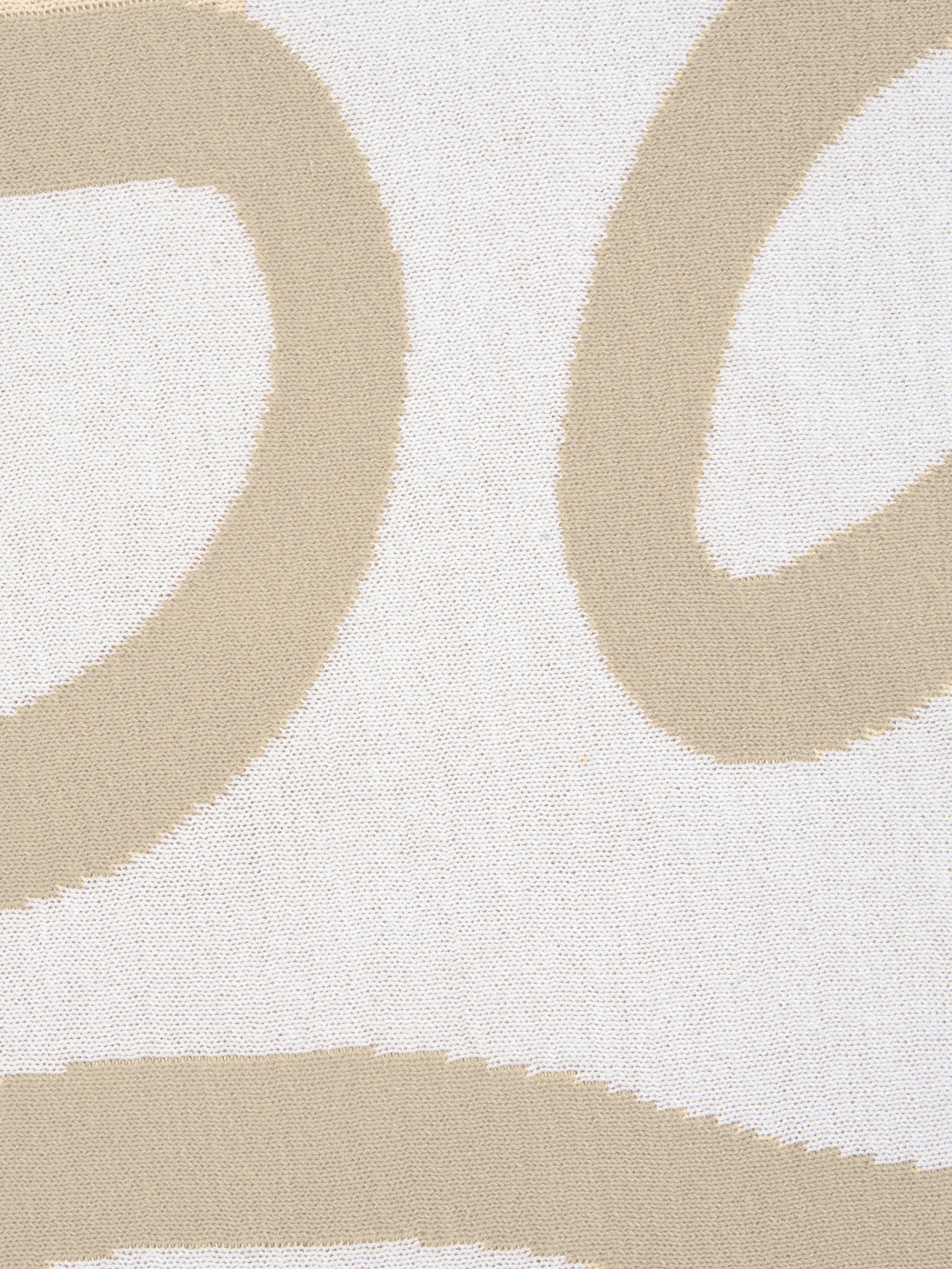 Feinstrick-Wendekissenhülle Amina mit abstraktem Linienmuster, 100% Baumwolle, Beige/ Weiss, 40 x 40 cm