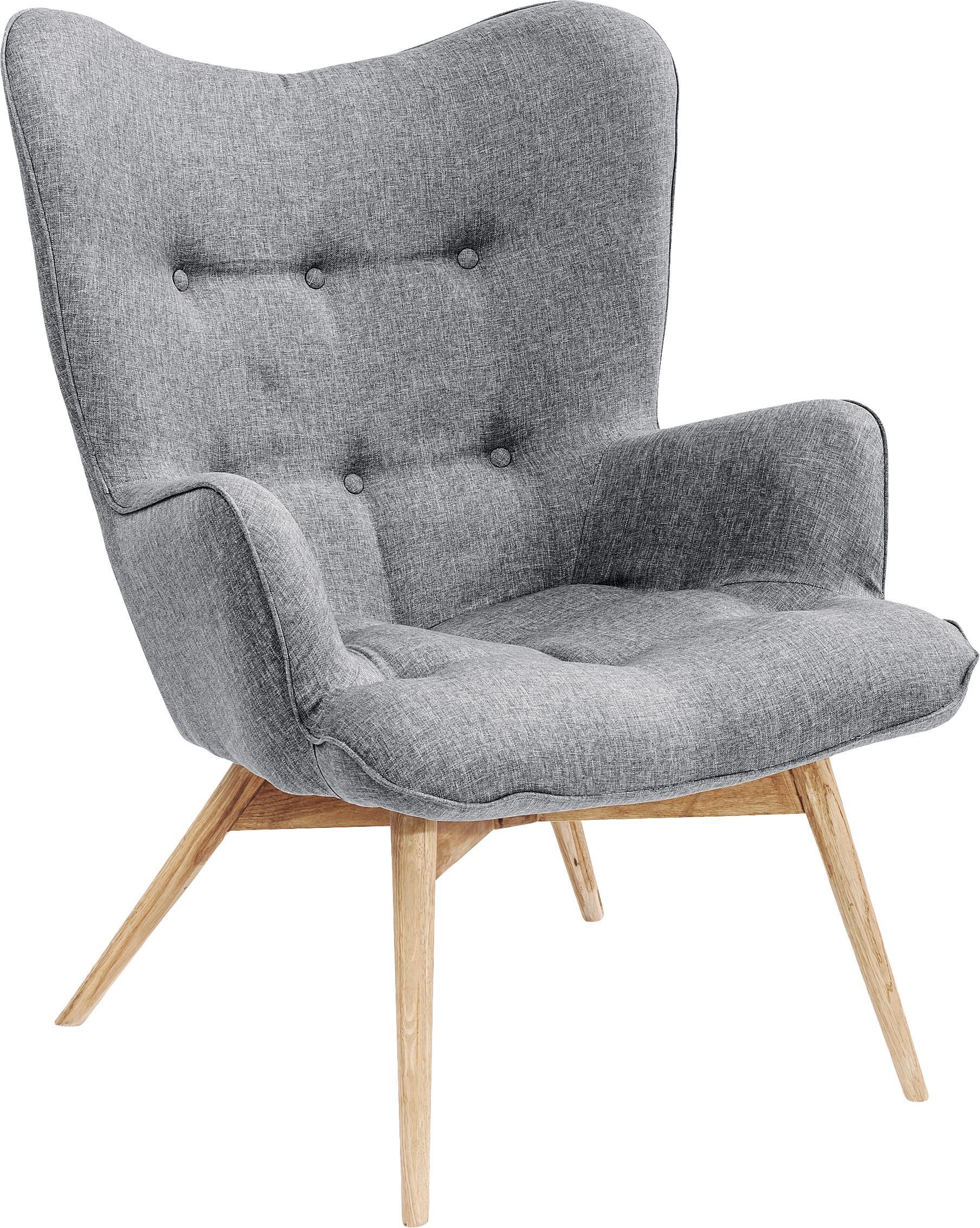 Fauteuil Vicky in grijs, Bekleding: polyester, Poten: massief, gebeitst en gela, Frame: beuken spaanplaat, nature, Grijs, B 59 x D 63 cm
