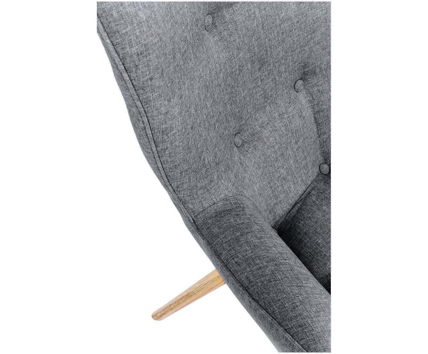 Poltrona ad ala grigia Vicky, Rivestimento: poliestere 50.000 cicli d, Gambe: legno di quercia, massicc, Tessuto grigio, Larg. 59 x Prof. 63 cm