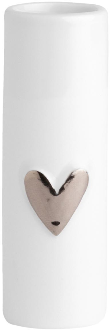 XS porseleinen vazen Heart, 2 stuks, Porselein, Wit, zilverkleurig, Ø 4 x H 9 cm