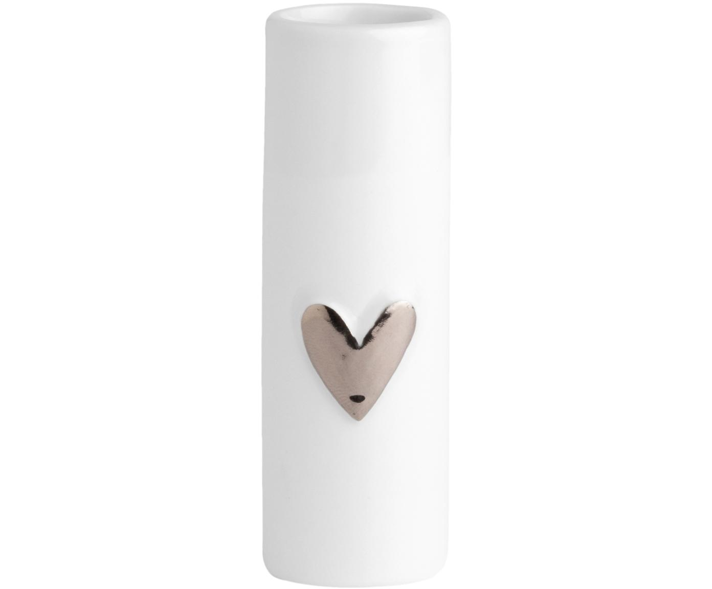 Mały wazon z porcelany Heart, 2 szt., Porcelana, Biały, odcienie srebrnego, Ø 4 x W 9 cm