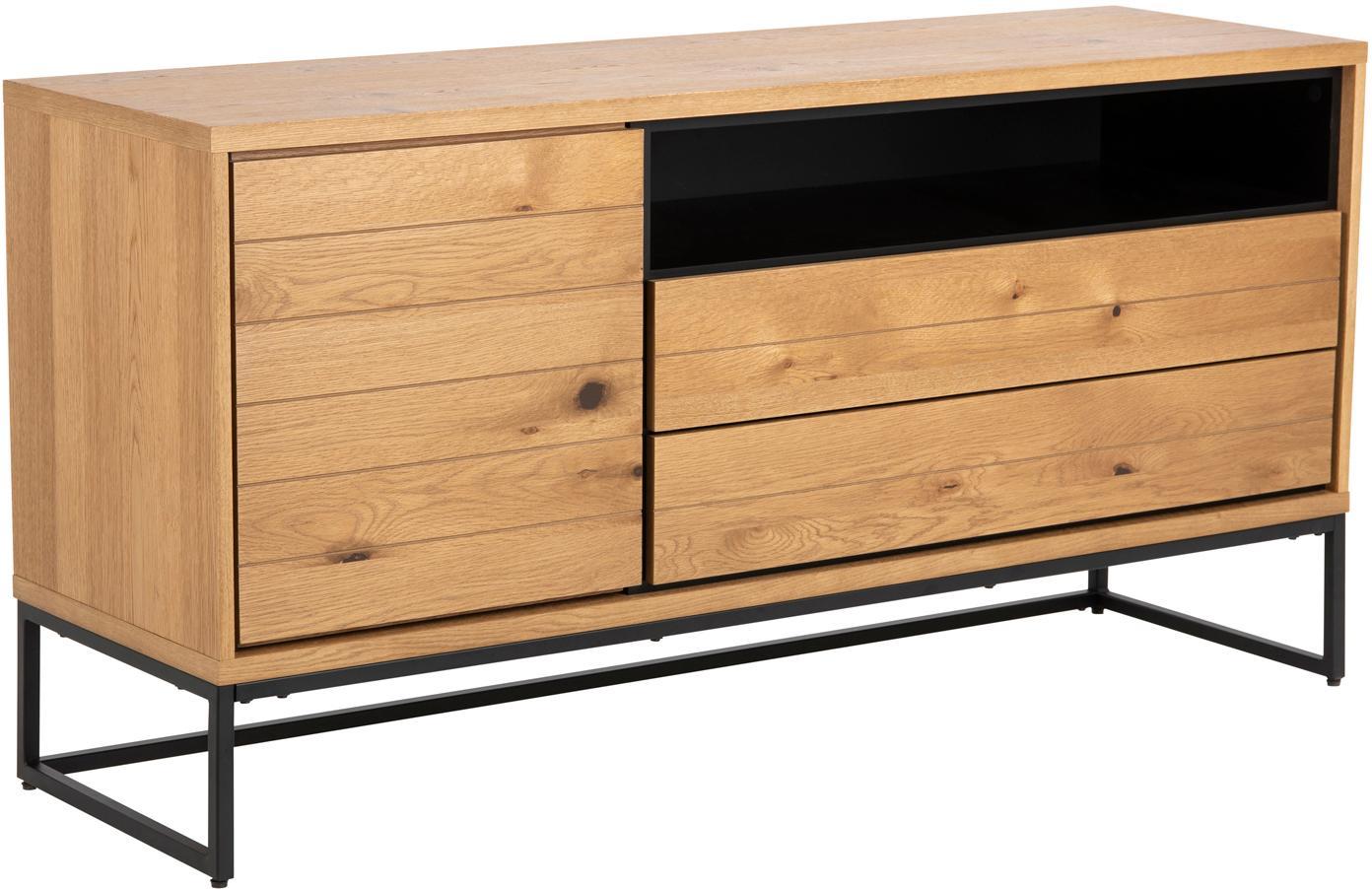 Sideboard Dalarna mit Eichenholzfurnier, Korpus: Mitteldichte Holzfaserpla, Füße: Metall, pulverbeschichtet, Wildeichenholz, Schwarz, B 150 x T 45 cm