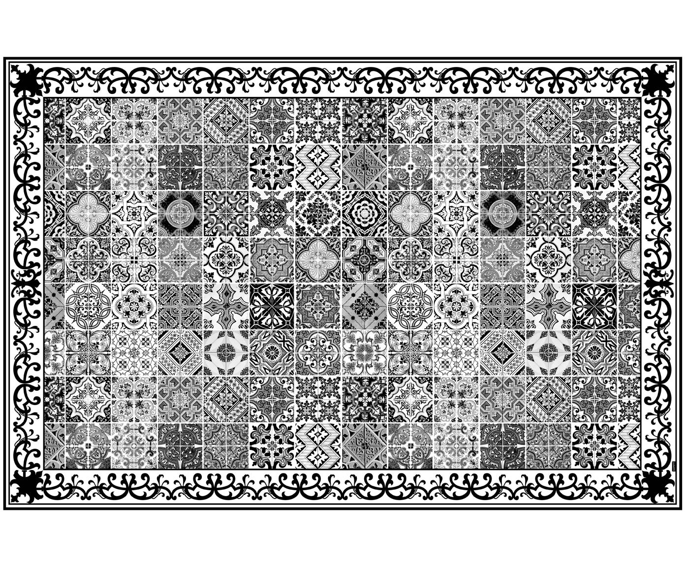 Vinyl-Bodenmatte Olè, Vinyl, recycelbar, Schwarz, Weiß, Grau, 135 x 200 cm