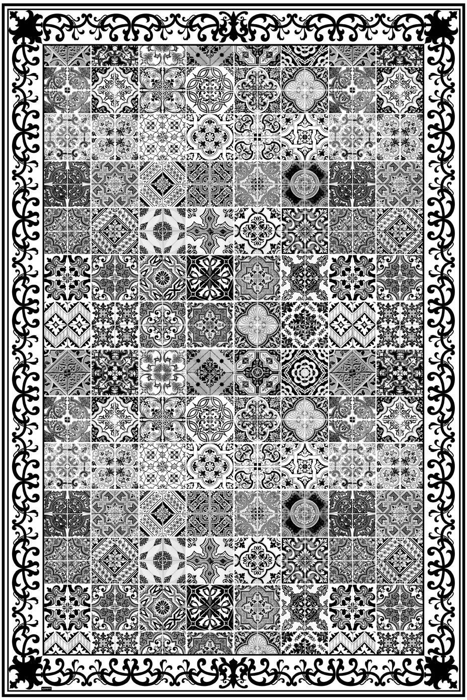 Mata podłogowa z winylu Olè, Winyl pochodzący z recyklingu, Czarny, biały, szary, S 136 x D 203 cm