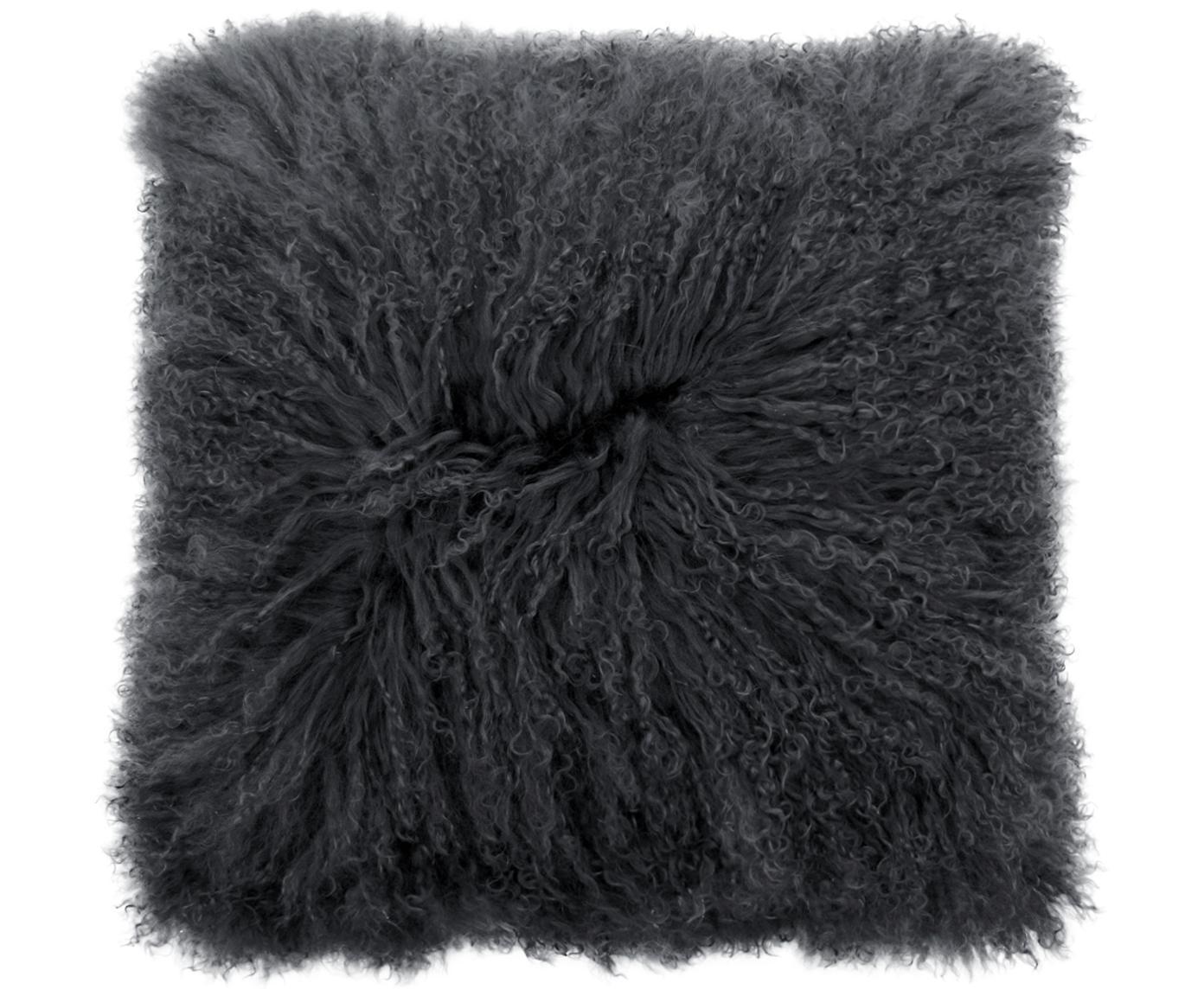 Funda de cojín en piel de cordero rizada Taera, Parte delantera: 100%piel de cordero de M, Parte trasera: 100%poliéster, Gris, An 40 x L 40 cm