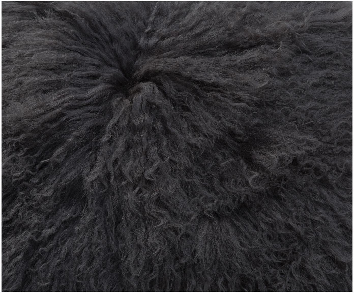 Poszewka na poduszkę ze skóry jagnięcej o długim włosiu Ella, Ciemny szary, S 40 x D 40 cm
